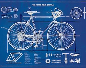 Bicycle blueprint etsy bicycle blueprint posterwrap large wall art print malvernweather Images