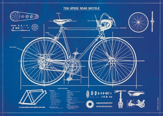 Bicycle blueprint posterwrap large wall art print malvernweather Gallery