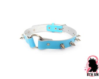 Blue Studded O Ring Choker, Blue Studded O Choker, Blue Studded O Ring Collar, Blue Studded O Collar, Blue Slave Collar, Blue BDSM Collar