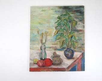 Huge Still Life Painting // Original Vintage Painting on Canvas Plants Tablescape Colorful Moody Abstract Modern Art Unframed Impressionist