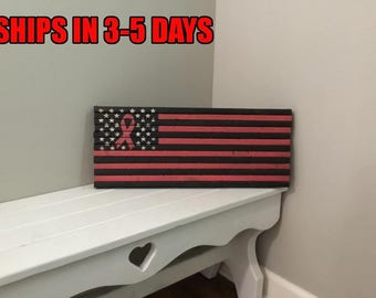 """9""""x 22"""" Small Breast Cancer Awareness Rustic Flag"""