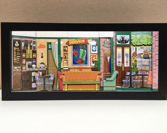 Friends Central Perk coffeehouse shadowbox diorama - Friends gifts | Friends collectibles - memorabilia picture art