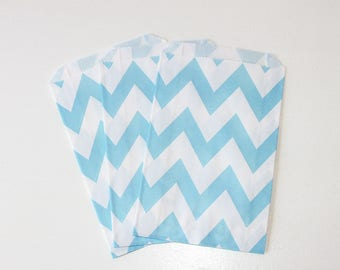 Light Blue Chevron Favor Bag / Light Blue Favor Bag / Light Blue Treat Bag / 12 bags / Blue Goodie Bags