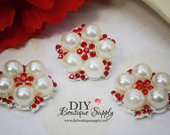 Valentine's Day Buttons RED Rhinestone Buttons Pearl buttons crystal Buttons Flatback Embellishment Hair bow flower centers 24mm 820042