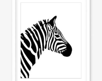 Zebra print - printable art - printable zebra art - printable poster - black and white art - modern art print - wall art - DIGITAL DOWNLOAD