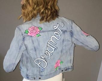 Hand Painted Denim Jacket. Dreamer. Rose. Custom Painted. Wearable Art. Day Dream. Dreamer.  Hand painted. Denim Jacket. One of a Kind.