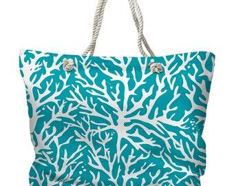 Coral Turquoise Tote Bag, Beach Tote Bag, Coastal Tote Bag, Nautical Tote Bag, Sea Fan Tote, Beach Carryall