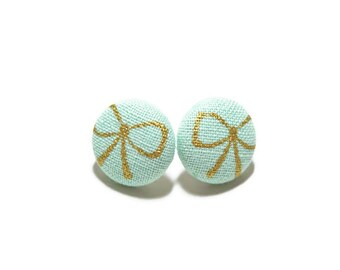 Wrapped with a Bow Earrings, Mint Green Button Earrings, Small Fabric Studs, Cover Button Jewelry, Nickel-free Earrings, Titanium Jewelry