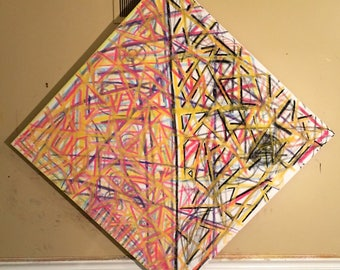 The Sunlight is Manufractured in a Windowless Room Abstract Painting 36x36in.
