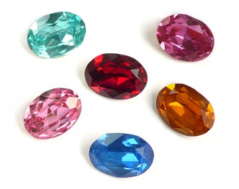 Vintage Machine Cut Crystal Rhinestones, 6 colours, 18x13 mm - oval - 2 pcs - A29