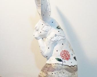 Rabbit Art Sculpture. Original Collage Figurine. Rabbit Sculpture, Altered Art, Found Object Collage, OOAK