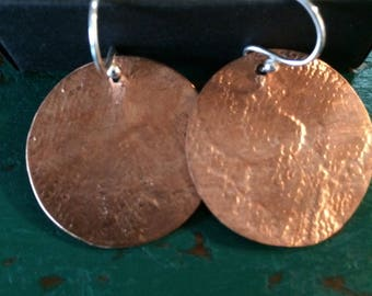 Handmade Copper and Silver disc earrings