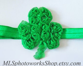 St. Patrick's Day Holiday Shape Headband - Green Ruffled Chiffon Shamrock Girls Hair Bow
