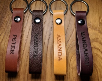 Custom Leather Keychain, Personalized Monogram, Permanent Engraved Front Side and Back Side. Genuine Leather Made in America.