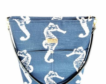 MTO - Navy Seahorse Shoulder Bag with Leather Strap - 9 pockets