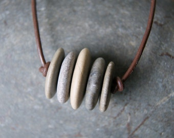 Beach Stone Necklace with Distressed Brown Leather Cord