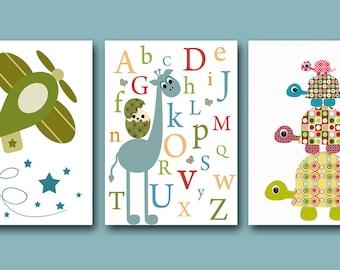 Baby Nursery Decor Art for Children Kids Wall Art Baby Boy Room Decor Baby Boy Nursery print set of 3 Print plane blue alphabet