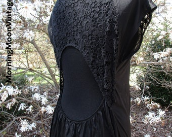 Sheer Black Maxi, OPEN BACK, Crochet LACE! Delicate Boho Gothic Hippie Gypsy Witch, stevie nicks, long flowy sexy gown, Free People sz 2 New