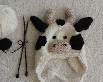 Toddler/Kids Cow Knit Earflap Hat