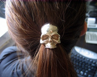 SALE - Skull Pony tail Holder Hair Tie / Necklace Solid Bronze Human Skull Ponytail Holder 052