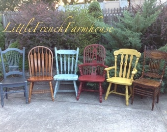 4 Mismatched High Back Dining Chairs *Higher-Quality* Custom Painted in Your Colors! All Wood Chairs, Substantial Size & Scale