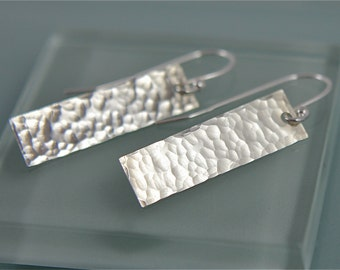 """Rectangle Sparkle Sterling Silver Hammered Dangle Earrings 1"""" Eco Friendly Recycled Silver"""
