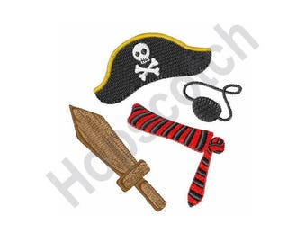 Pirate Costume - Machine Embroidery Design - 4 X 4 Hoop. Halloween, Child, Captain Hook, Buccaneer, Sailor, Robber
