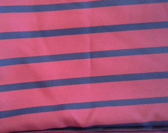 Red and Navy Blue Striped Polyester Fabric 4 Yards X0625