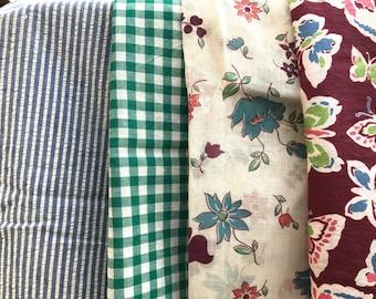 Multiple cuts of vintage fabric