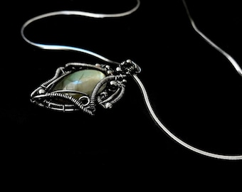 Victorian Fantasy Pendant - Wire Wrapped Gothic Style Pendant - Artisian Jewelry - Victorian Collection