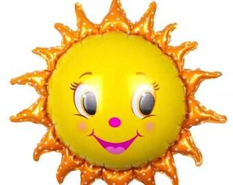 """Sunshine Balloon Large Sun Balloon 29"""" Mylar Smiley Face Sunshine Emoji Face Balloon Helium Quality Balloon"""