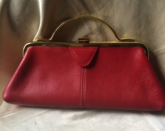 1960's Red Leather Top Handle Purse /  60's Vintage Handbag / Womens Accessory