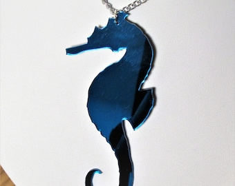 Blue Seahorse Large Statement Mirror Mermaid Necklace
