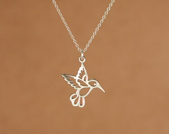 Humming bird necklace - gold hummingbird necklace - silver hummingbird - a silver hummingbird on a sterling silver chain