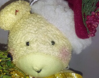 Christmas  Stuffed Teddy Bear, Vintage Handmade Christmas  Ornanment, Teddy Bear Holding Christmas Tree