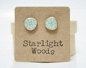 Blue flower stud earrings , recycled tree branch wood earrings, minimalisti jewelry eco friendly earrings Blue Post Earrings Starlight Woods