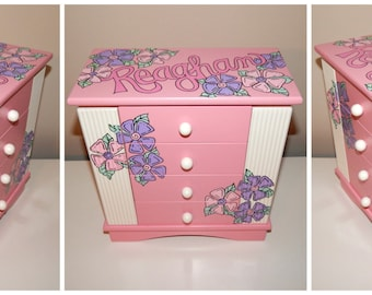 Personalized Armoire Jewelry Box in Pink and Ivory
