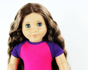 SAMPLE SALE - Fits like American Girl Doll Clothes - Short Sleeve Baseball Raglan Tee in Purple and Hot Pink