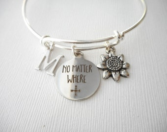 Sunflower, No Matter Where- Initial Bangle/ sister quote, Gift Idea, Big Sis, Big Sister Bracelet, girl gift, personalized bracelet