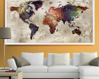 World Map Wall Art Print, Large Wall Art Push Pin World Map Art, Extra Large World Map Push Pin for Home and Office Wall Decor (L55)