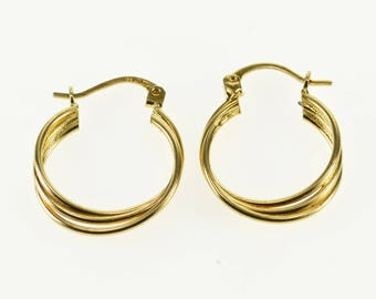 14k Three Tiered Layered Twist Hollow Hoop Earrings Gold