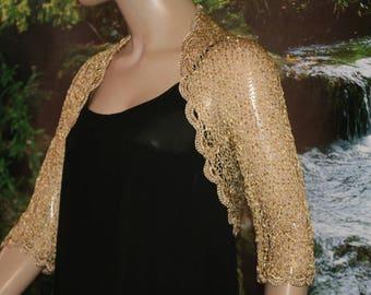 Gold knitted crochet shrug/ Wedding  shrug/Gold bolero/Bridal shoulders cover/Bridesmaids Cover up Bolero