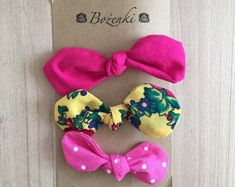 Yellow Multi Floral & Pink Polka Dot Bow Hair Clips (set of 3)