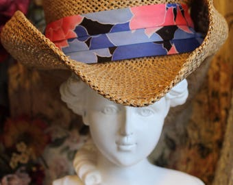 Summery Bliss Vintage Triangle Headwear Brand Fedora Straw Hat with Flowered Silk Sash ~ Size XL