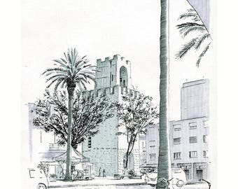 Oristano, Roma place. Numbered and signed author print.
