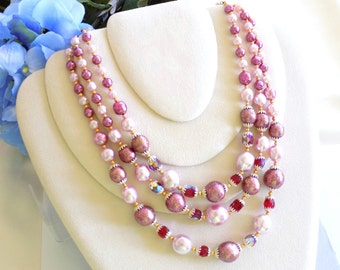 Vintage Triple Strand Beaded Necklace Pink Beads and Faux Pearls, Faceted Red Beads Signed Japan