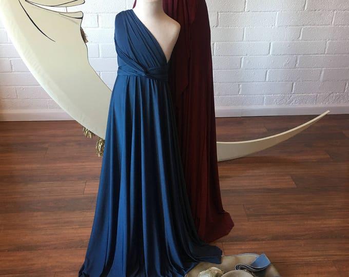 "Ready to Ship- Girls Long 39"" Aline Length Prussian Indigo Blue Infinity Twirl Convertible Wrap Gown"