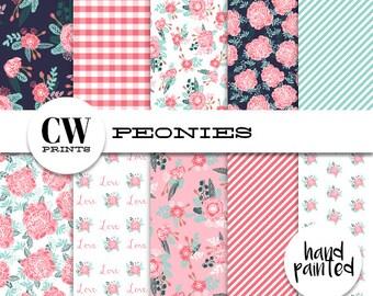 Peonies Prints Digital Paper Pack: 12x12 inch paper, 10 painted flowers, peony floral, floral, Digital Background Paper, Digital Printables,