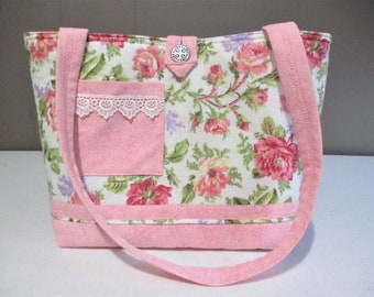 Large Handmade Quilted Tote Handbag Purse Cabbage Roses Lace Floral PInk Lace