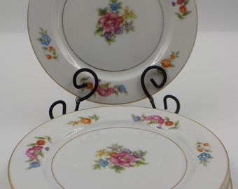 China Bread/Butter Plates  - Set of 4 - Floral Pattern - Made in Occupied Japan - Vintage - Superb Condition